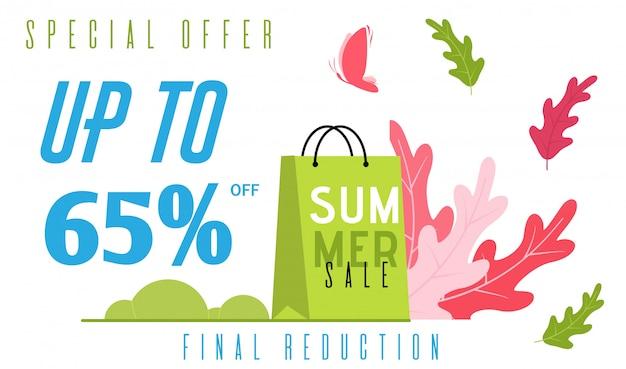 Banner plano de verão especial oferece redução final de preço