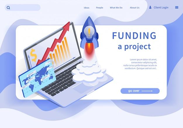 Banner plano é plataforma de projeto de financiamento por escrito.