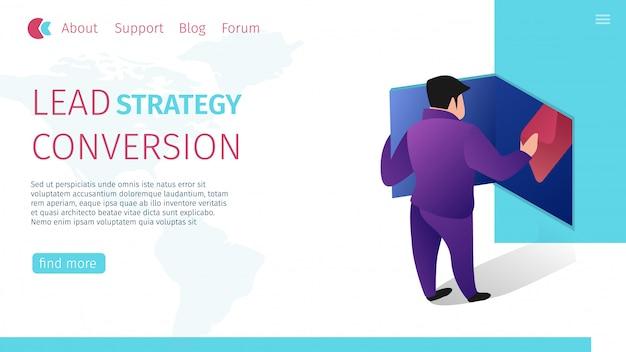 Banner plano horizontal de conversão de estratégia de chumbo.