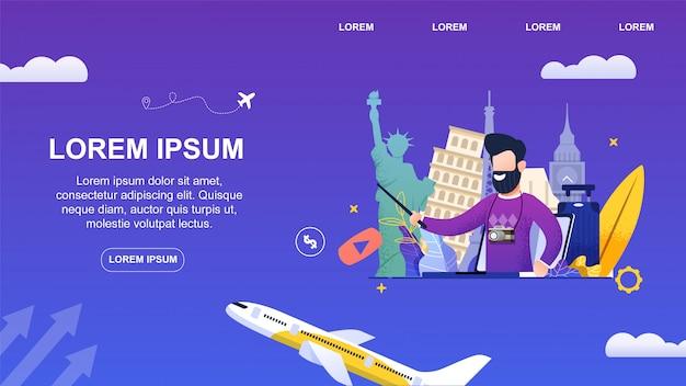 Banner plano jovem homem de barba leva um blog de viagens