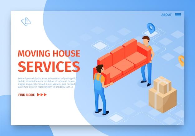 Banner plano sobre a mudança de serviços domésticos