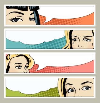Banner pop art com olhos femininos e espaço em branco para texto.