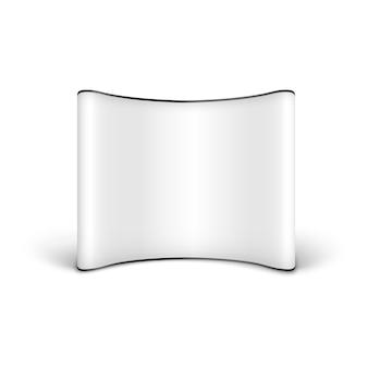 Banner pop-up de publicidade em branco branco com display vazio curvo, modelo realista para cartazes ou anúncios de shows ou exposições, isolado no fundo branco