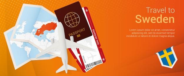 Banner popunder de viagem para a suécia banner de viagem com bilhetes de passaporte cartão de embarque de avião