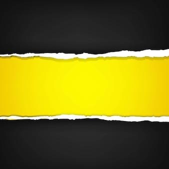 Banner preto com papel rasgado
