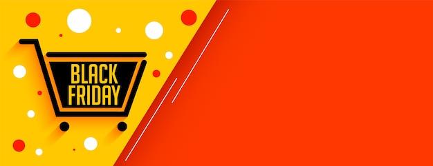 Banner preto de carrinho de compras em liquidação de sexta-feira com espaço de texto