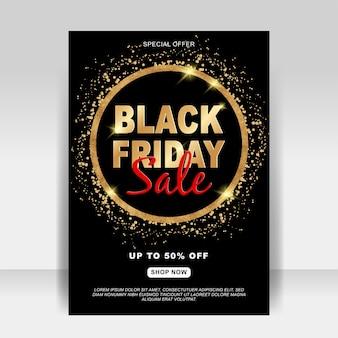 Banner preto de folheto de anúncio de venda sexta-feira com glitter dourado