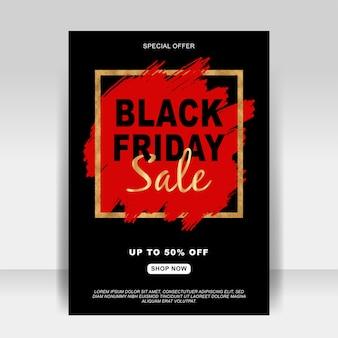 Banner preto de panfleto de anúncio de venda sexta-feira com pincel de respingo