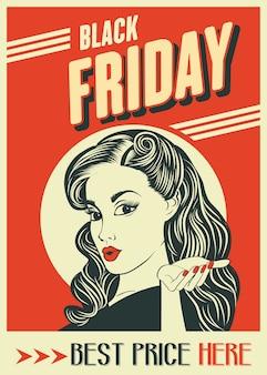 Banner preto de sexta-feira com garota pin-up