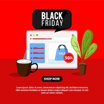 Banner preto de sexta-feira com ilustração de loja online e laptop perfeito para negócios de loja online