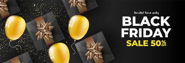 Banner preto de sexta-feira com presentes e balões