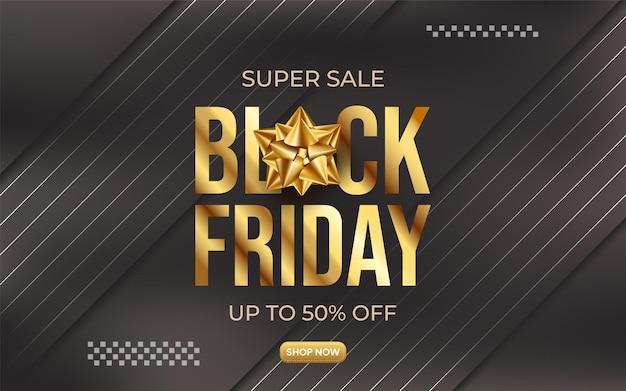 Banner preto de super venda sexta-feira para promoção com estilo dourado