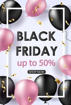 Banner preto de venda na sexta-feira com balões brilhantes