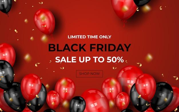 Banner preto de venda na sexta-feira com balões e confetes realistas