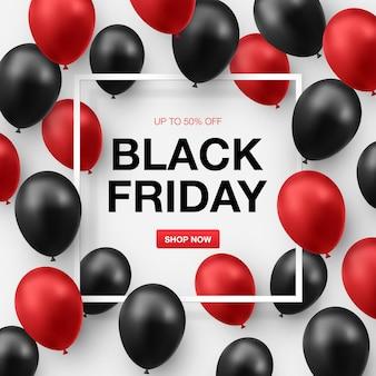 Banner preto de venda na sexta-feira com balões pretos e vermelhos brilhantes