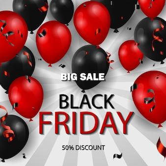 Banner preto de venda na sexta-feira com balões