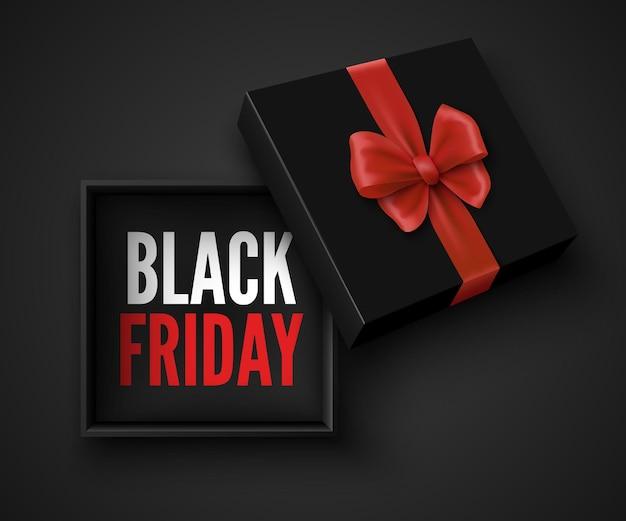 Banner preto de venda na sexta-feira com caixa de presente aberta e pacote de laço vermelho com ilustração de fita