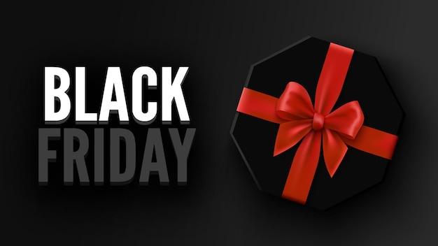 Banner preto de venda na sexta-feira com caixa octogonal de presente e arco vermelho pacote com ilustração de fita