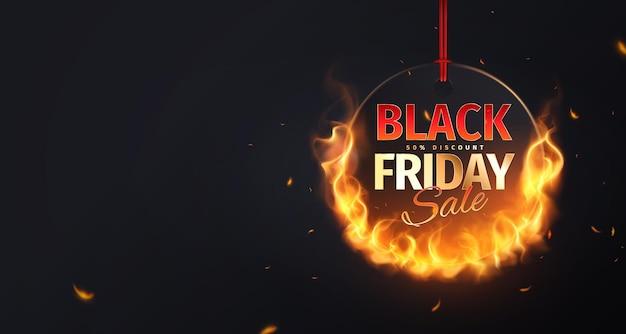 Banner preto de venda na sexta-feira com círculo de fogo