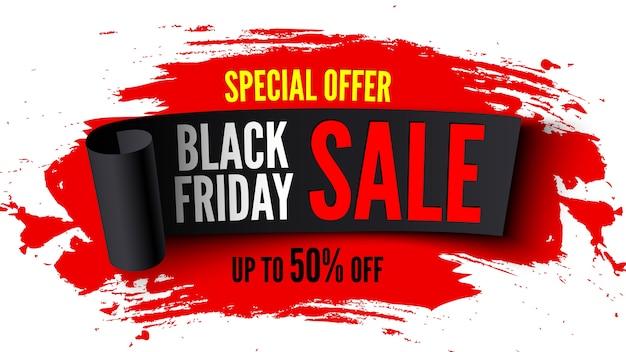 Banner preto de venda na sexta-feira com fita preta e pinceladas vermelhas
