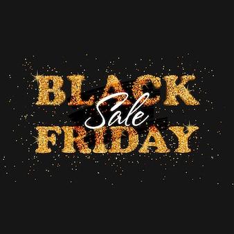 Banner preto de venda na sexta-feira com modelo de pôster de texto glitter dourado para negócios e publicidade