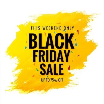 Banner preto de venda na sexta-feira com pincelada amarela