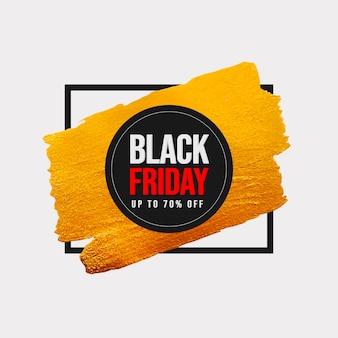 Banner preto de venda na sexta-feira com pincelada dourada e moldura preta