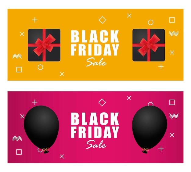 Banner preto de venda na sexta-feira com presentes e balões de hélio flutuando