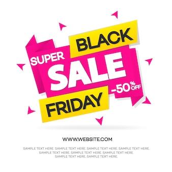 Banner preto de venda na sexta-feira para sua promoção, oferta especial, anúncio, venda, preço quente e desconto isolado no fundo branco com sinal de super venda