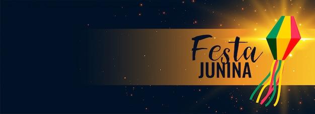 Banner preto junina de festa brilhante