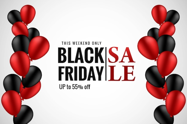 Banner preto moderno de venda sexta-feira com balões realistas