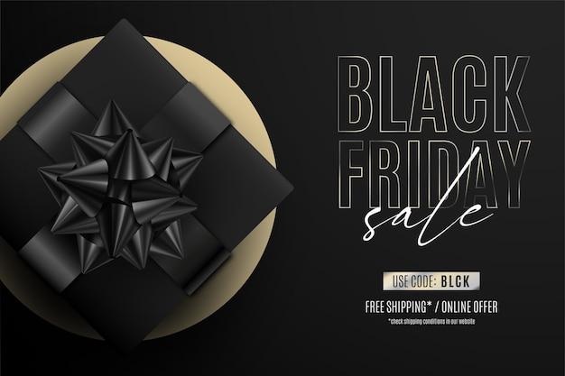 Banner preto moderno de venda sexta-feira com presente realista
