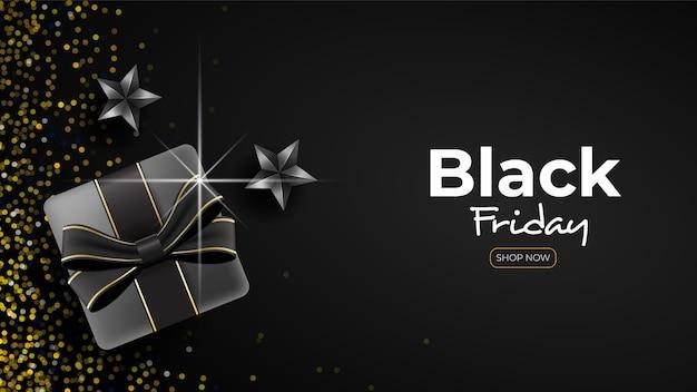 Banner preto sexta-feira com presentes e confetes