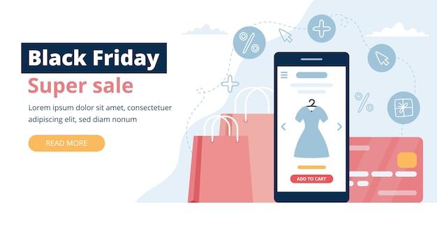 Banner preto sexta-feira com tela do telefone, sacolas de compras e cartão de crédito. modelo