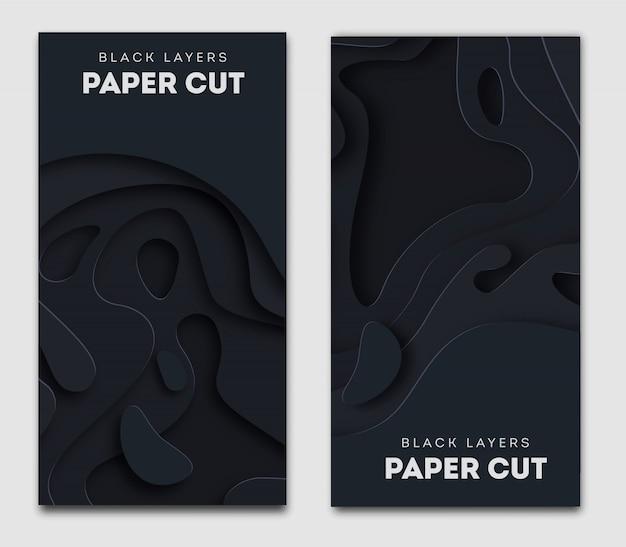 Banner preto vertical com 3d abstrato, formas de corte de papel branco.