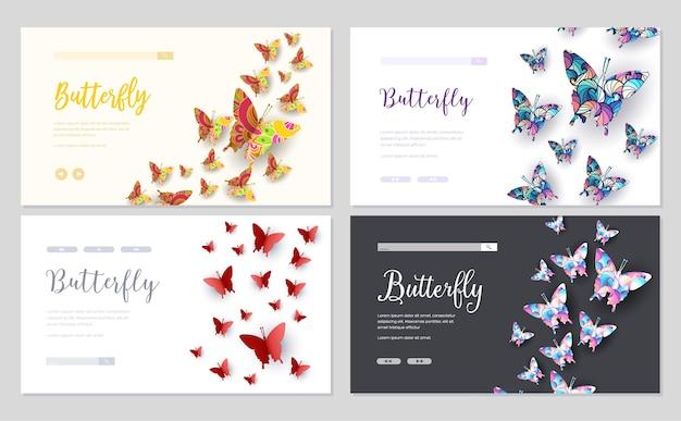 Banner principal ou entrar no site de slides. conceito de bela borboleta colorida.