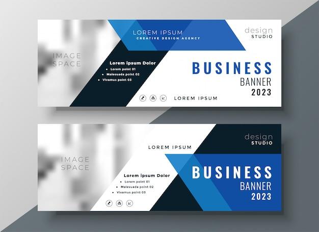 Banner profissional de negócios azul com espaço de imagem