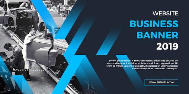 Banner profissional do site de negócios corporativos com formas azuis