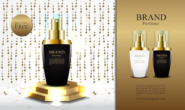 Banner promoção de perfume de luxo comprar 1 obter 1