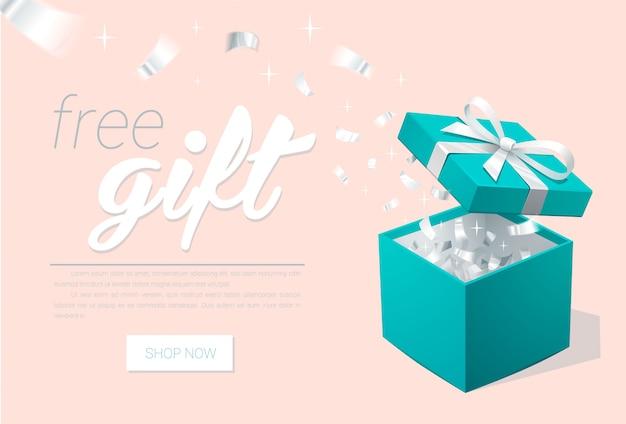 Banner promocional com caixa de presente aberta e confetes prata. caixa de jóias turquesa. modelo para lojas de jóias de cosméticos. fundo de natal.