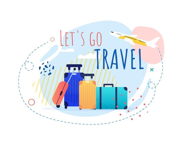 Banner promocional com desenhos animados sacos de turistas e decolagem de avião