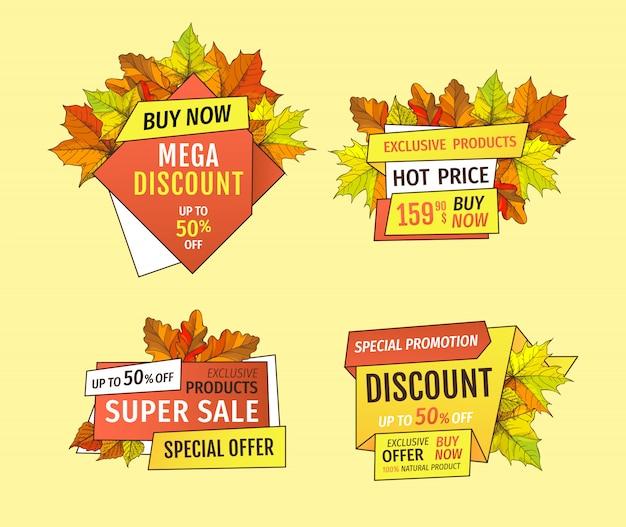 Banner promocional com maple folhas, folhagem de carvalho