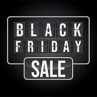 Banner promocional da black friday sale, flip clock analógico