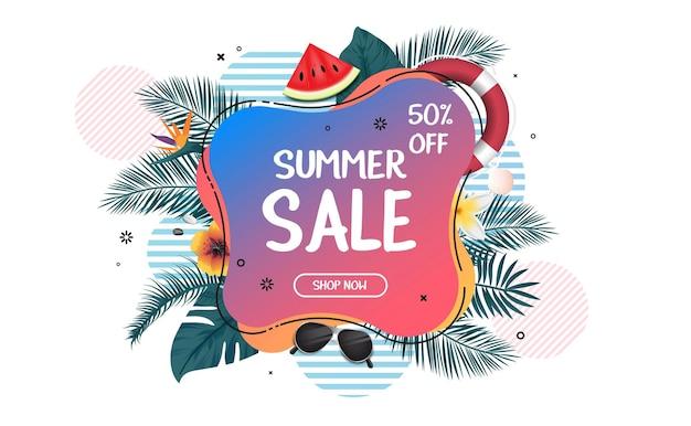 Banner promocional da web de promoção de verão
