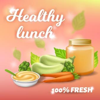 Banner promocional de almoço saudável, café da manhã bebê fresco