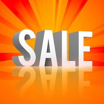 Banner promocional de compras com reflexão de venda de palavras em 3d