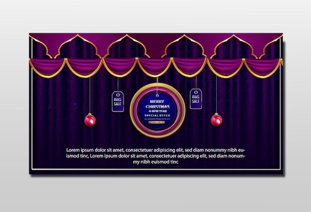 Banner promocional de luxo feliz natal e ano novo com oferta especial