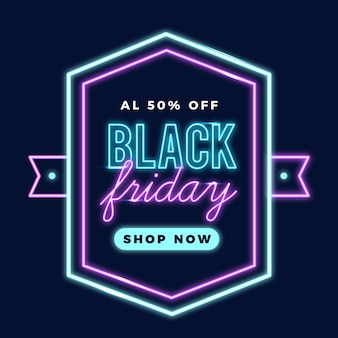 Banner promocional de neon preto sexta-feira