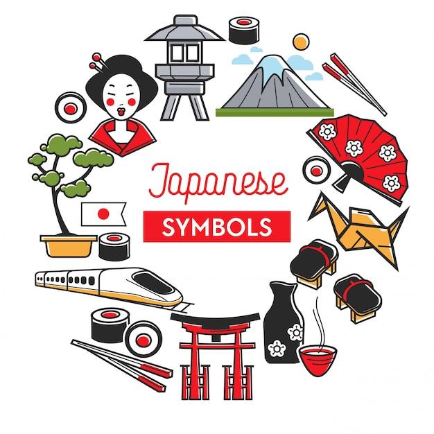 Banner promocional de símbolos japoneses com atrações famosas tradicionais