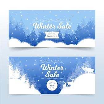 Banner promocional de venda de inverno em design plano